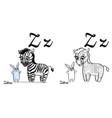 zebra alphabet letter z coloring page vector image