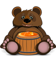 Bear with a Barrel of Honey vector image vector image
