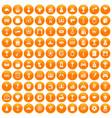 100 premium icons set orange vector image