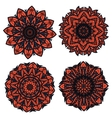 Orange and black circular floral patterns vector image vector image