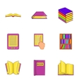 Book icons set cartoon style vector image