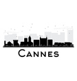 Cannes City skyline black and white silhouette vector image