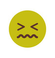 green cartoon face sick sad upset emoji people vector image