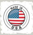 made in usa flag button design vector image