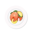 salmon steak on a plate vector image