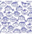 Seamless baby cartoon faces vector image