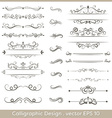 Set of calligraphic vintage ornaments with dashes vector image