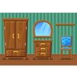 Set cartoon funny wooden furniture Living room vector image