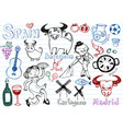 spain doodles collection vector image vector image