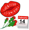 Kisses and Red roses for Valentines Day vector image