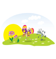 dancing ant and butterfly on the lawn vector image vector image