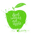 isolated green apple silhouette vector image