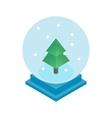 Snow glass ball with christmas tree icon vector image