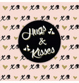 black Hugs and Kisses emblem on XO background vector image