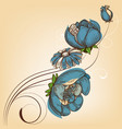 blue flowers card birthday party invitation vector image