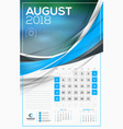 calendar template for 2018 year august design vector image
