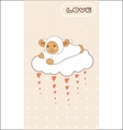 little lamb flying on a love cloud vector image