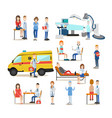 medical staff flat icon set vector image