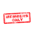 members only red grunge rubber stamp vector image