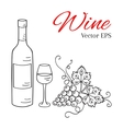 Wine bottle glass and grapes vector image