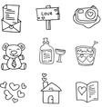love hand draw doodles vector image