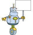 cartoon robot holding a sign vector image vector image