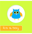 Baby shower card with blue owl Its a boy vector image
