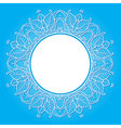 Floral frame on a blue background vector image
