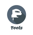 Flat electric fretsaw with long shadow vector image vector image