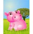 Baby hippo cartoon vector image vector image