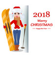 beautiful woman in winter clothes holding skis vector image