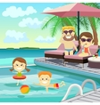 Family weekend Family on holiday around the pool vector image