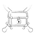 pixelated treasure chest with swords vector image