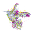 hummingbird floral ornament and watercolor splash vector image vector image