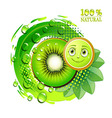 Kiwi slices with leafs and a smiley face vector image