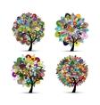 Mandala tree set floral sketch for your design vector image vector image