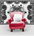 red leather chair with a white pillow in interior vector image vector image