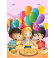 Kids celebrating a birthday with a pizza burger vector image