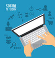 hand user laptop social network items vector image