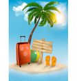 Vacation background Beach with palm tree suitcase vector image vector image