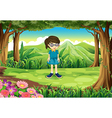 A schoolgirl in the middle of the forest vector image vector image