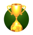 Soccer football ball trophy gold cup vector image