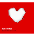Heart cut out of red paper - vector image vector image