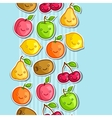 Seamless pattern with cute kawaii smiling fruits vector image vector image