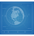 Blueprint earth vector image