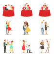 couples in love romantic st valentine s day date vector image