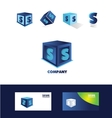 Letter S blue cube logo icon vector image