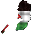 Map with Palestinian flag inside vector image