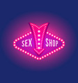 retro signboard with light text of sex shop vector image