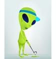 cartoon alien golf vector image vector image